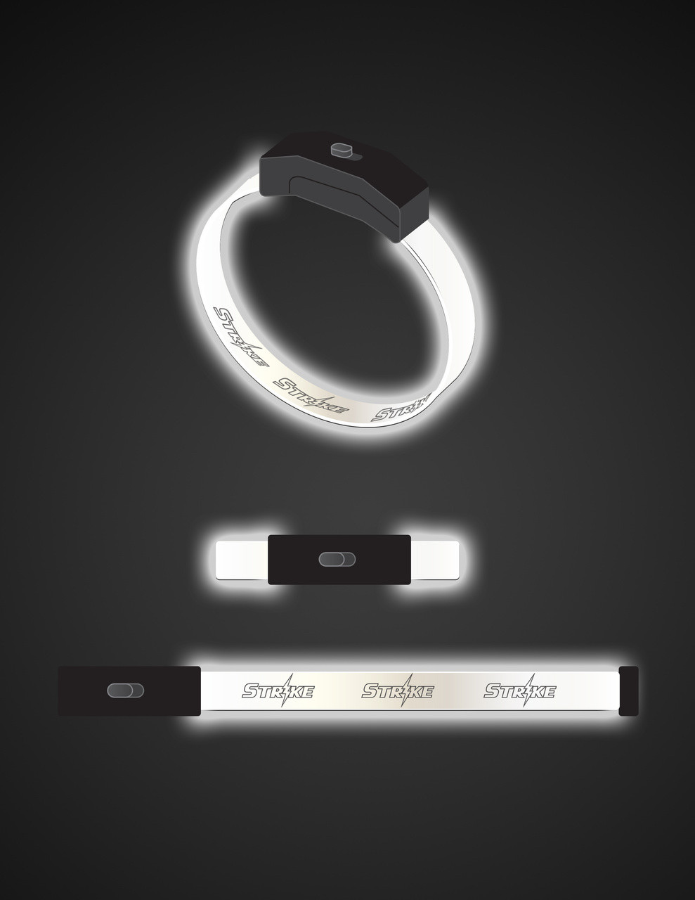 White,LED, Band, Bracelet, Wristband, engraved, custom, Light up