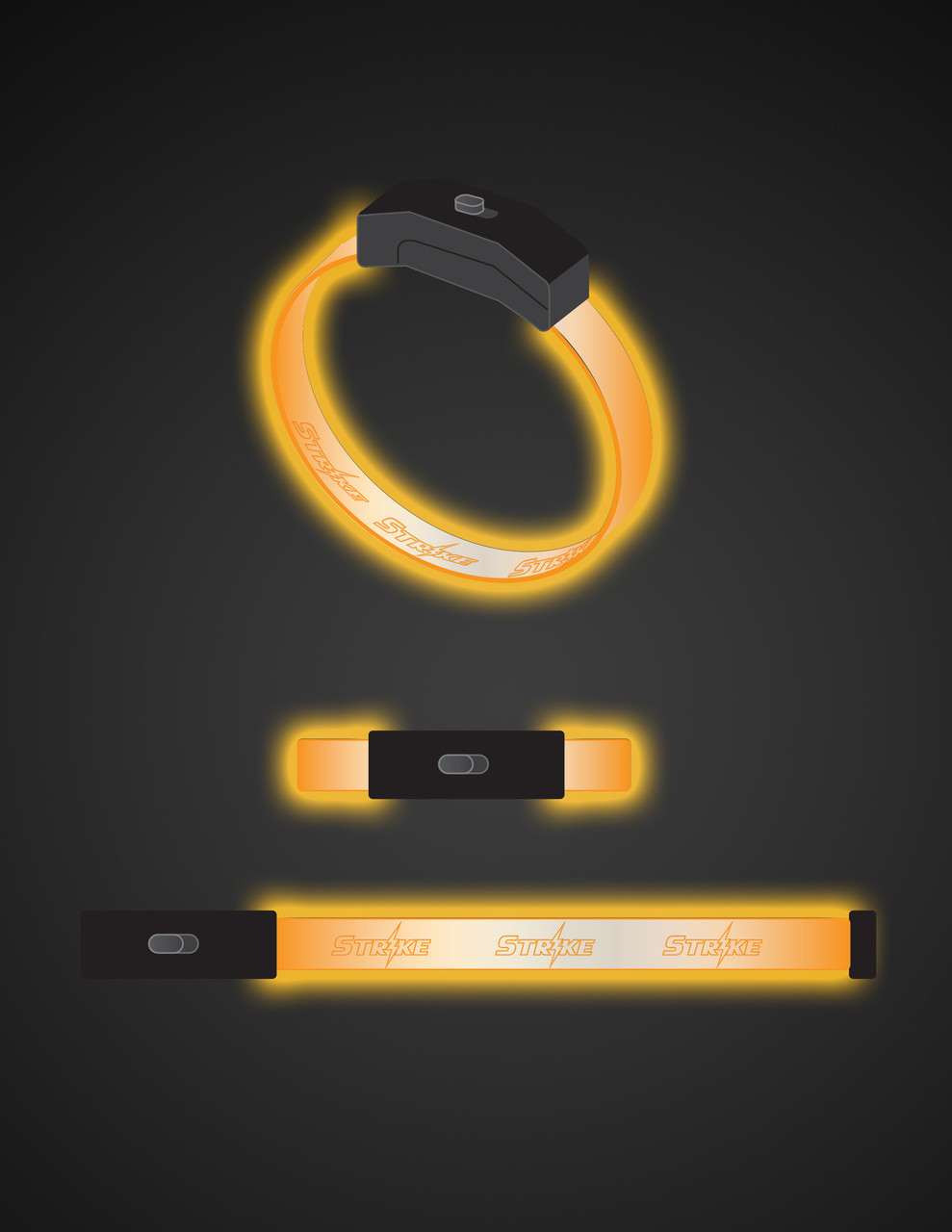 Orange,LEd,LED, Band, Bracelet, Wristband, engraved, custom, Light up