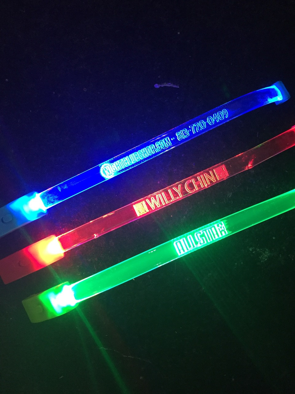 LED WRISTBANDS - PERSONALIZED - CUSTOM - Light Up Optical Engraved LED Bands