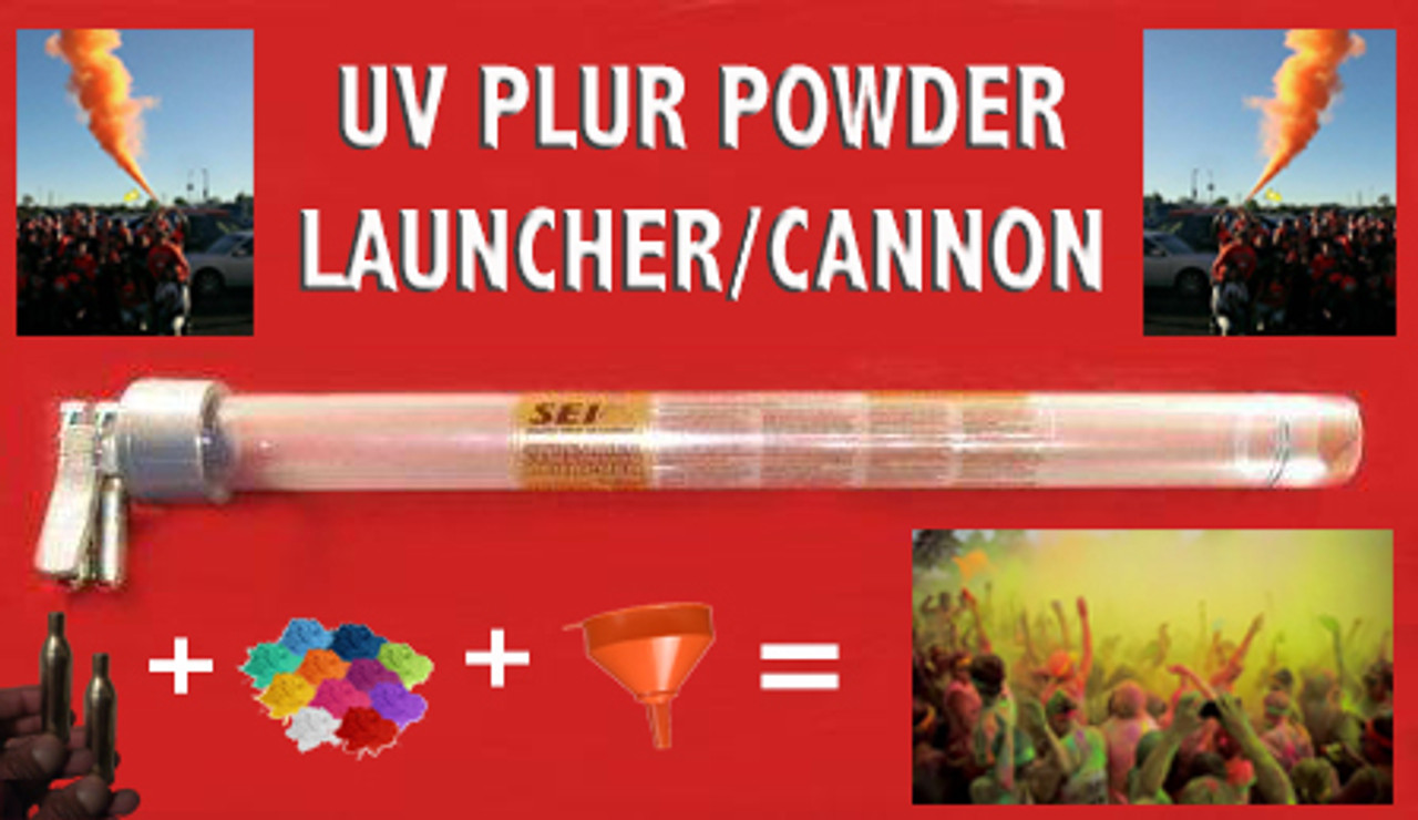 PLUR, PARTY, UV, Reactive,POWDER,PARTY,UV Reactive,  LAUNCHER,Dual, CO2, Power, shoot, Holi-Powder, Cannon,gun