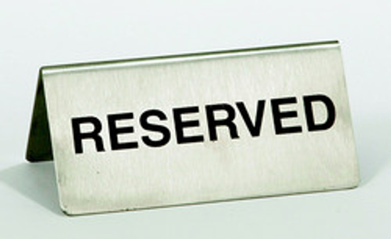 VIP, Reserved, Sign, Reserved sign, Reservado, Table, Place holder, Stainless steel