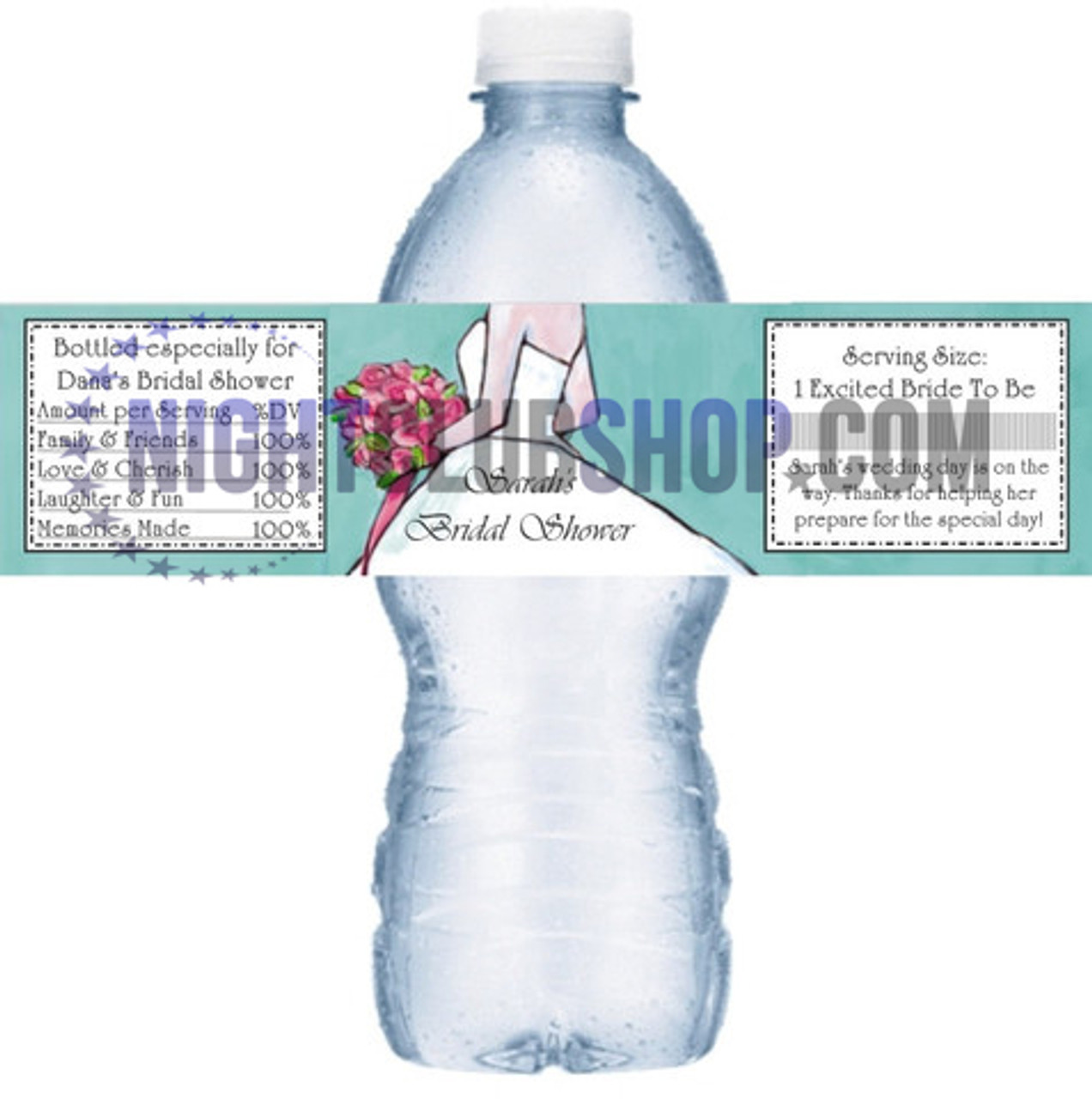 "CUSTOM WATER BOTTLE SELF ADHESIVE LABELS 1.25"" x 8.5"" BIRTHDAY SWEET 16"