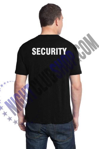 MENS BLACK SECURITY TEE-PRINTED LEFT CHEST AND BACK