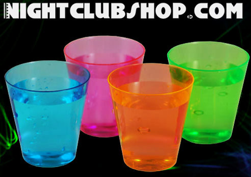 NEON SHOT GLASSES 2 OZ, PARTIES, NEON, GLOW, UV REACTIVE, SHOT GLASS, 2 OZ