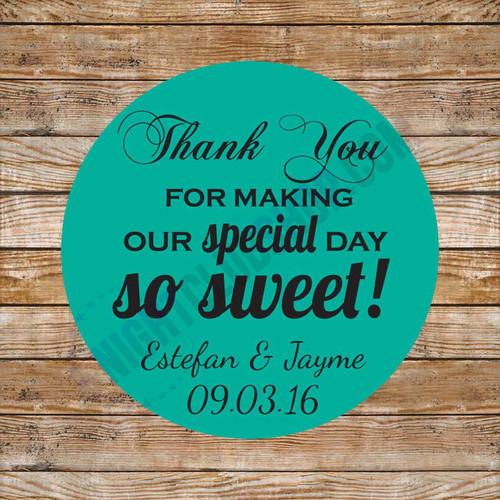CUSTOM THANK YOU OR FAVOR BAG LABEL DECOR BIRTHDAY SWEET 16