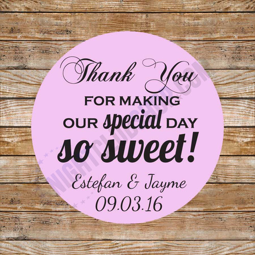 CUSTOM THANK YOU FAVOR BAG LABEL DECOR