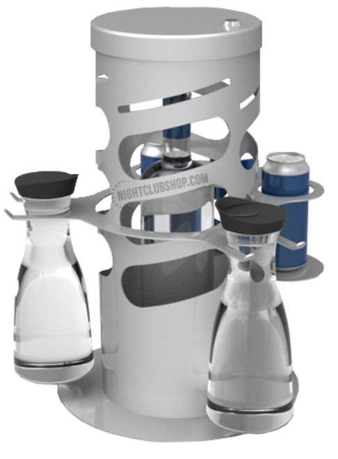 Custom, Bottle, Cage, Lock, Silver, polished, fabricated, manufactured, bottleservice, bottle service, locking, drink, liquor, holder