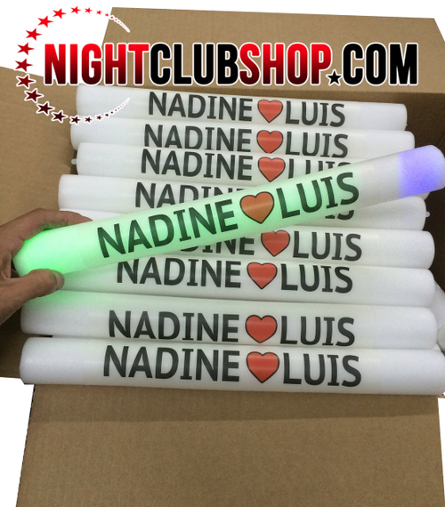 Custom,Personalized,Wedding, Glow, Foam, stick,baton, lumiton,wand, blinky,light,glowing, customized, glowstick, reception, bride, groom,name, text,logo