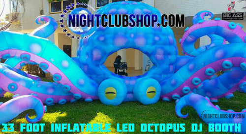 33 Foot Custom Inflatable, LED OCTOPUS DjBooth - Mid Size - Mobile Dj Friendly