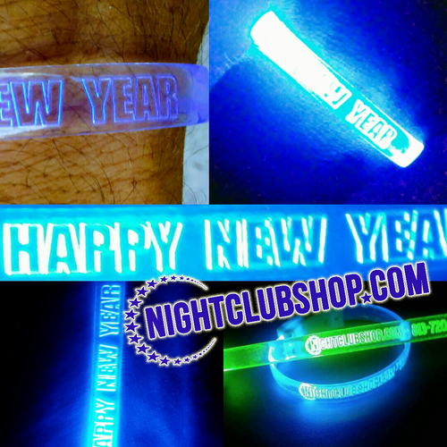 New Years, NYE, LED, wristband, custom, personalized, bracelet, wrist band, Light up, Glow, neon