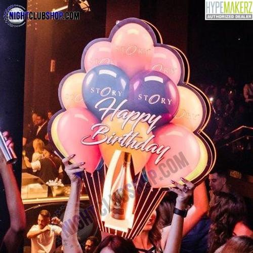 Happy Birthday, B-Day, Liquor, Holder, Bottle Presenter, LED, Balloon, Huge, Grande, VIP, Nightclub, venue, Bar, Casino, Restaurant