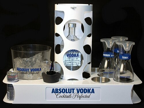 POWDER AND BLEMISHED CUT VIP BOTTLE SERVICE TRAY WITH VIP BOTTLE CAGE, CUSTOM BUCKET, GARNISH BOWLS, CARAFES, ICE BUCKET AND UTILITY HOLDERS.