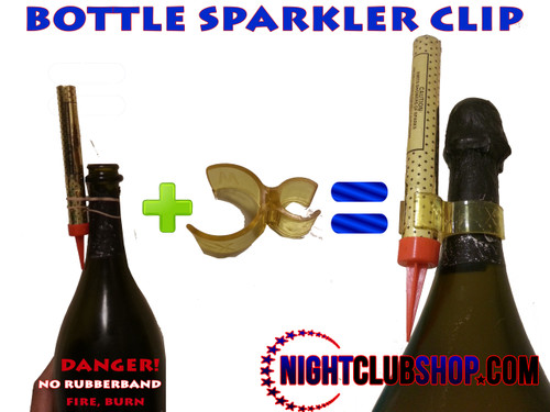 bottle klip, clip, bottle, sparkler, bottle sparkler, safety, accident, liability, safe, proper, sparkler clip, rubberband, rubber band, handle, order, buy, bulk, order, safety clip, firework clip, bright, bottle, service