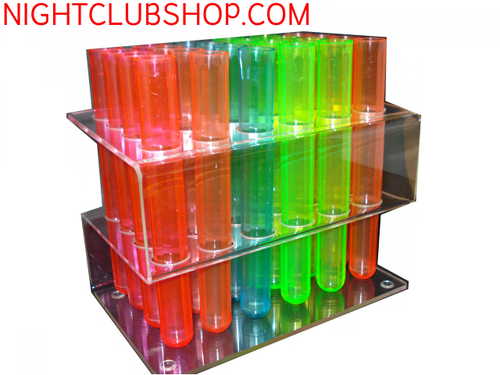 SHOOTER TUBE RACK, TEST TUBE RACK, TEST TUBE, 24 HOLE RACK, ACRYLIC RACK, SHOOTER, TOOTERS, SHOTZ