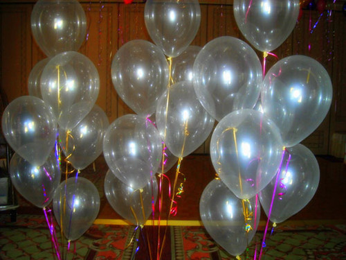 GLOW, UV REACTIVE, LED, CLEAR 12 INCH BALLOONS