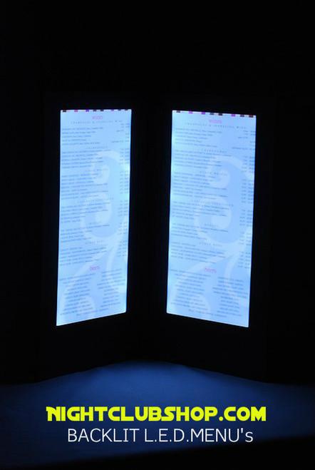 LED BACK LIT MENUS, LED MENUS, GLOW MENU,  back lit menu covers, check presenters, table stands, back lit menus, dine a light, glow in the dark, glowing menus, grandstand, led menus, light up menus, lighted menu, lit check presenters, lit menus