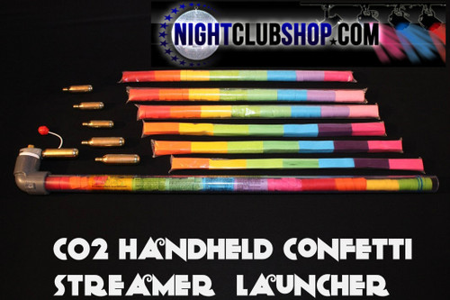 confetti, streamer, launcher, cannon, portable, handheld, tube, co2, gun,  handheld confetti launcher, hand held, quickload, quick load, easy, refill, reusable, effect, big room, fill, kit, starter kit, ready, use,