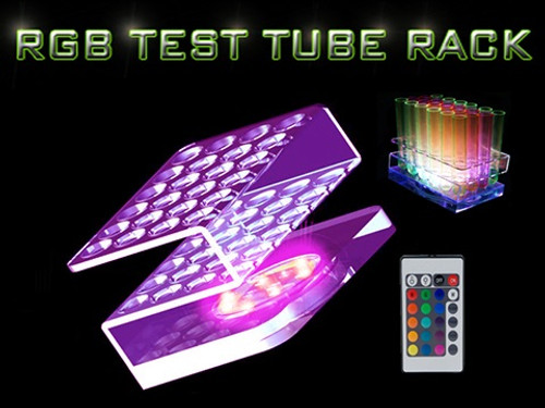 RGB, LED, Test tube, Shot, tray, rack, carrier, light, illuminated,