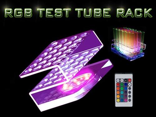 RGB, LED, Test tube, Shot, tray, rack, carrier, light, illuminated,