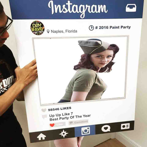 """Instagram, FaceBook, Tinder, Wedding - Picture Frame Cut Out Board (Small) 18"""" x 24"""""""