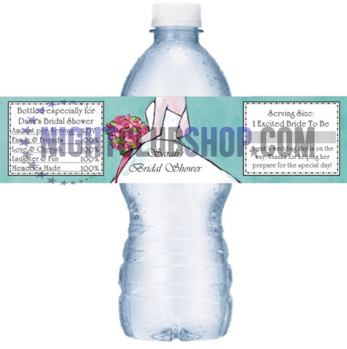 "CUSTOM WATER BOTTLE SELF ADHESIVE LABELS 1.25"" x 8.5"" WEDDINGS"