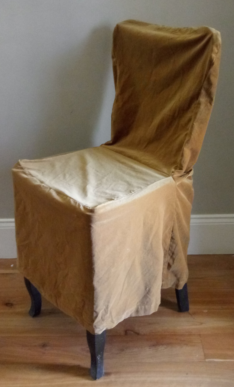 Pottery Barn Side Dining Chair Loose Fit Slipcover Rear Tie Amber Velvet Ugly Company Llc