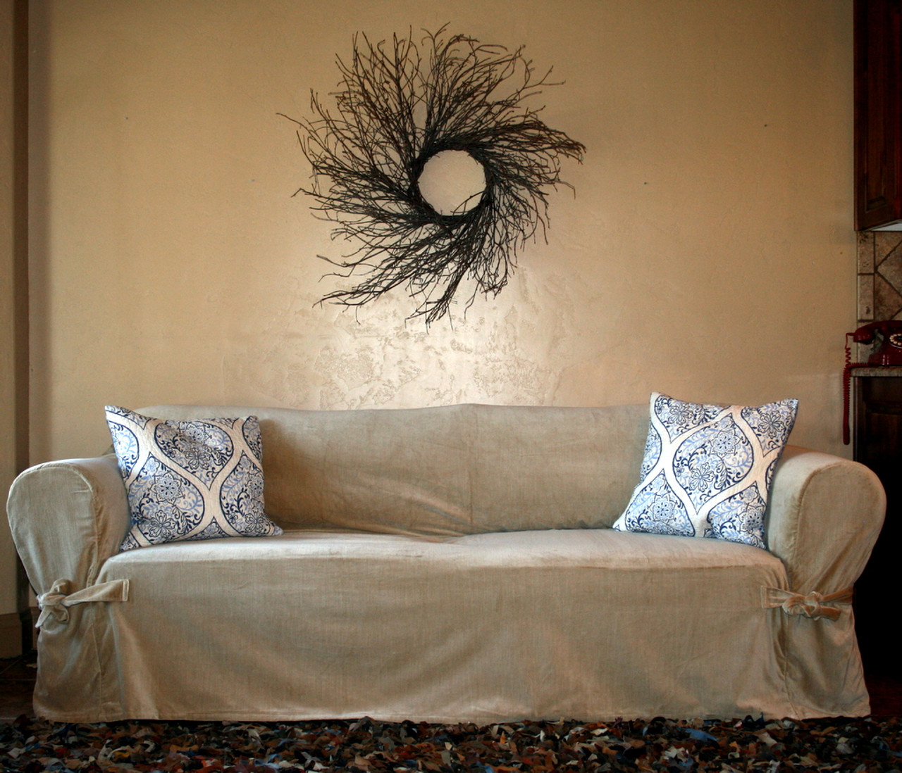 Loosefit Square Cushion Tie Arm Slipcover Large Sofa
