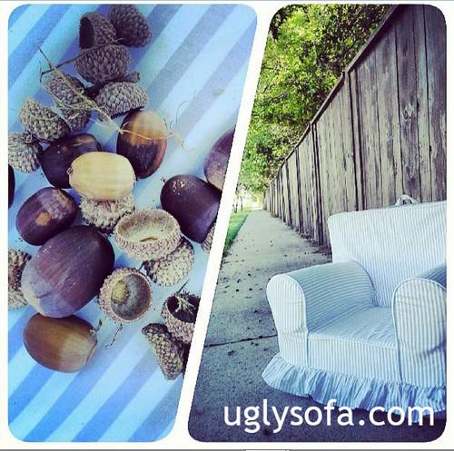 Regular Size Ruffle Chair - Lavender Stripe