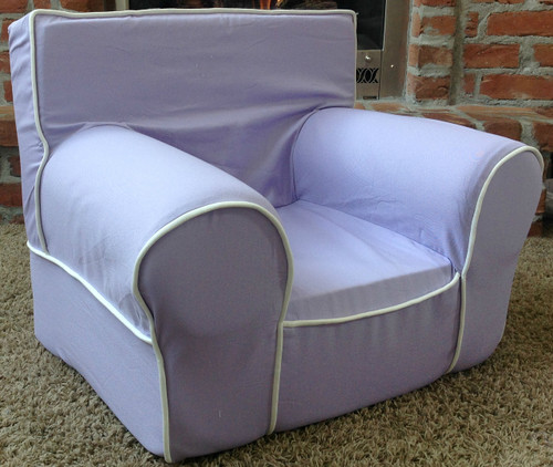 Ugly-Where Chair Slipcover - Regular Size - Free Personalization - Lavender, White Piping