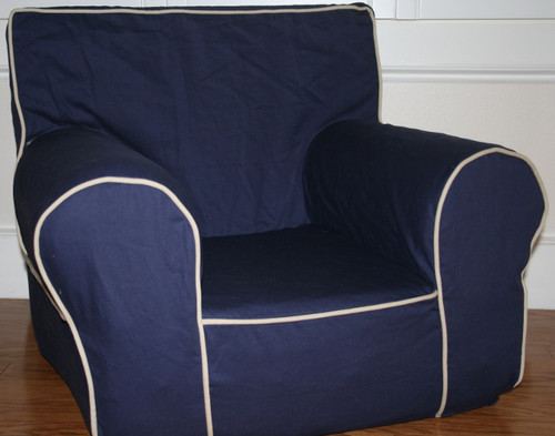 Ugly-Where Chair Slipcover - Oversized - Free Personalization - Navy, Khaki Piping