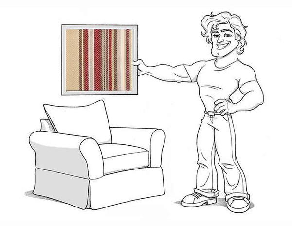 Comfort Armchair Slipcover Set - Knife Edge Cushions - Montgomery Stripe - locL100