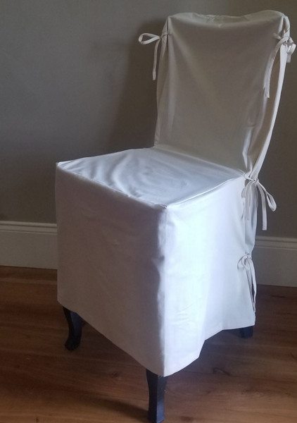 Pottery Barn Side Dining Chair Loose-fit Slipcover - Side Tie - Cream Twill