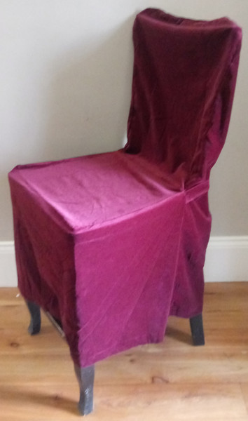Pottery Barn Side Dining Chair Loose-fit Slipcover - Rear Tie - Wine Velvet