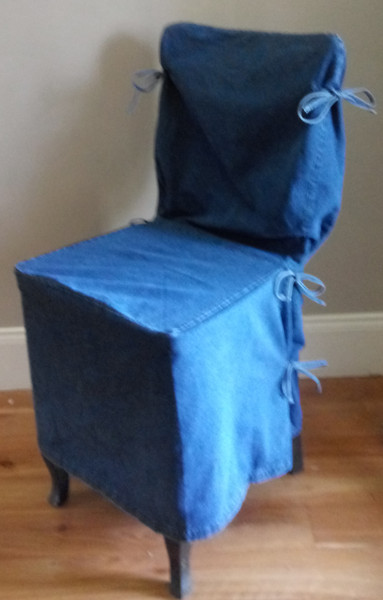 Pottery Barn Side Dining Chair Loose-fit Slipcover - Side Tie - Indigo Denim