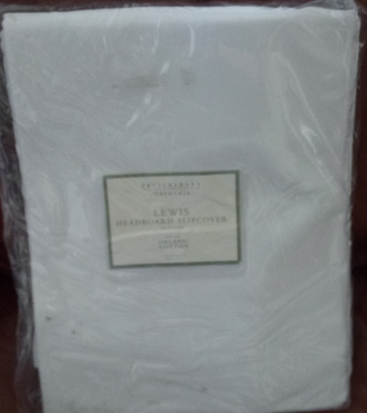 Pottery Barn Naturals  Lewis Headboard Cover Slipcover - White Organic Cotton Twill - Queen