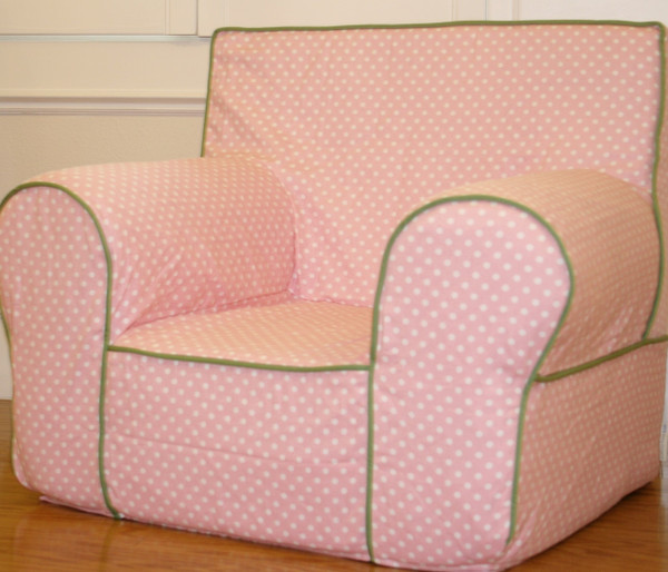 Ugly-Where Chair Slipcover - Mini Size - Free Personalization - Light Pink Mini Dot, Green Piping