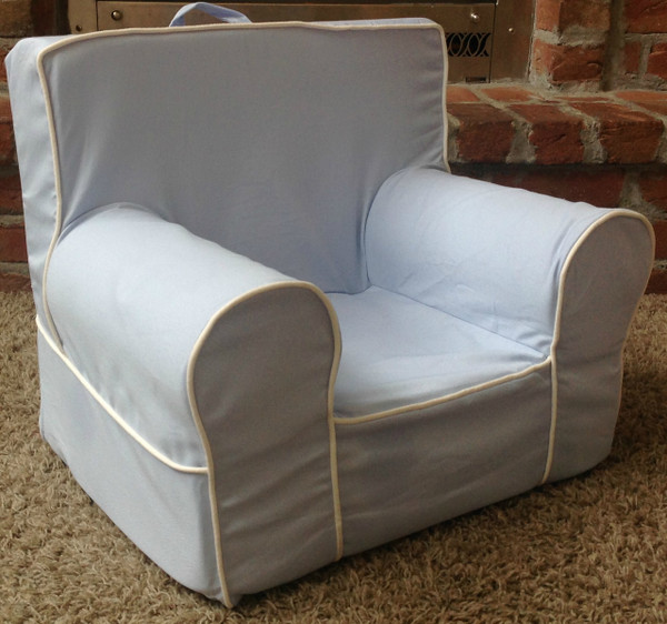 Ugly-Where Chair Slipcover - Mini Size - Free Personalization - Light Blue, White Piping