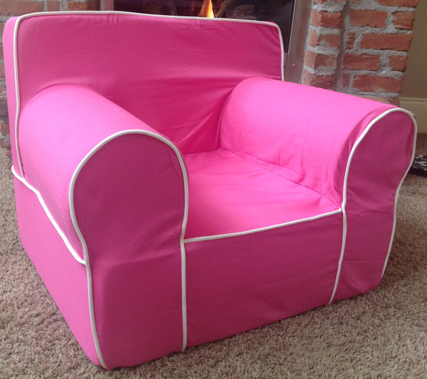 Ugly-Where Chair Slipcover - Oversized - Free Personalization - Hot Pink, White Piping