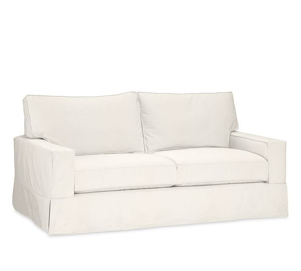 Pottery Barn Comfort Square Arm Sofa Slipcover Set - Box Edge Cushions - White Warm Denim - L31