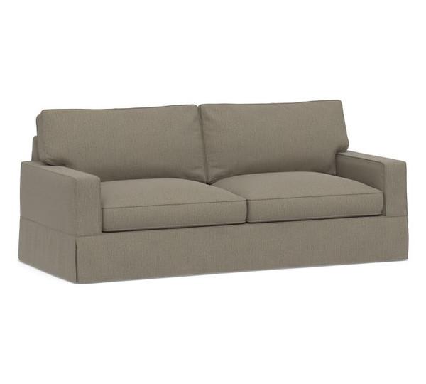 Pottery Barn Comfort Grand Square Arm Sofa Slipcover Set - Box Edge Cushions - Taupe Chenille Basketweave - L35, 36