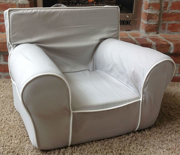 Ugly-Where Chair Slipcover - Oversized - Free Personalization - Gray, White Piping