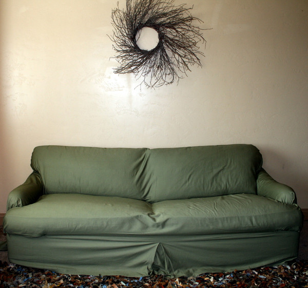 Tailored t-cushion slipcover.