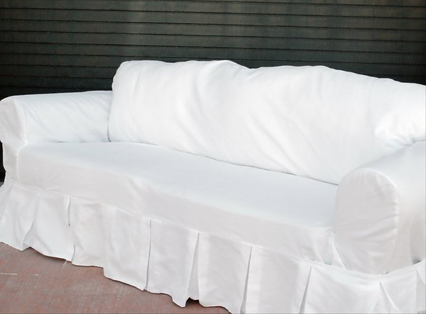 This is an actual photo of a slipcovered ugly sofa. No catalog photo magic...this is the real deal!