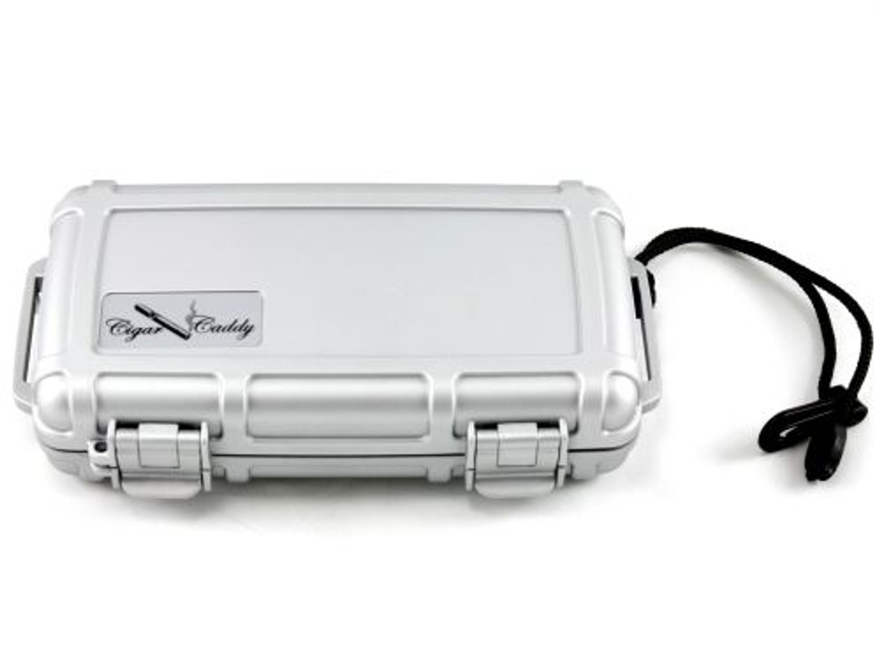 Cigar Caddy Silver 5 Stick Travel Cigar Humidor