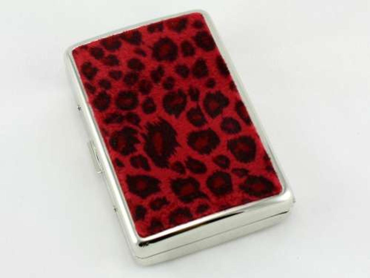 Red Cheetah Fur Cigarette Case