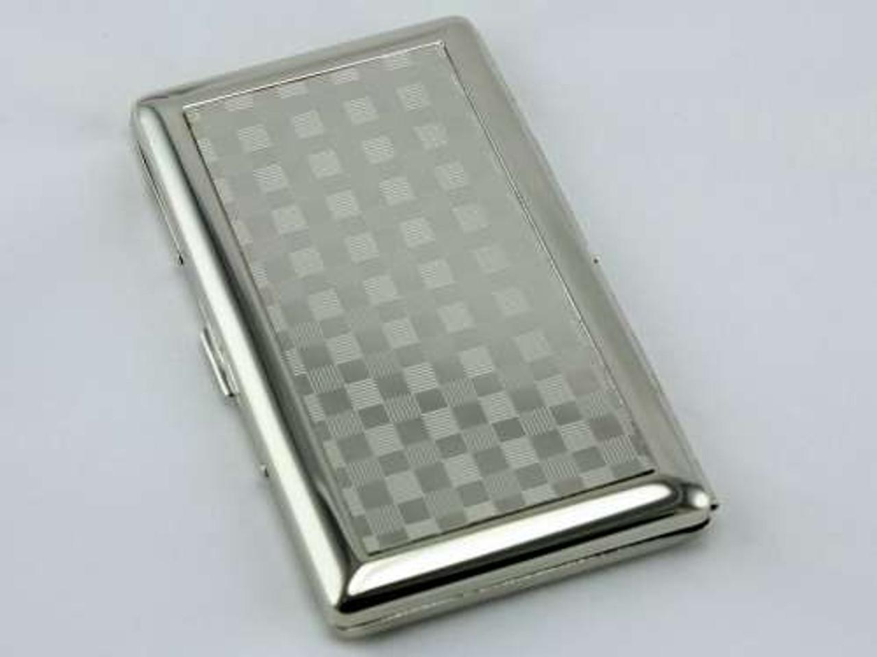 Silver Checkered Mirror Cigarette Case