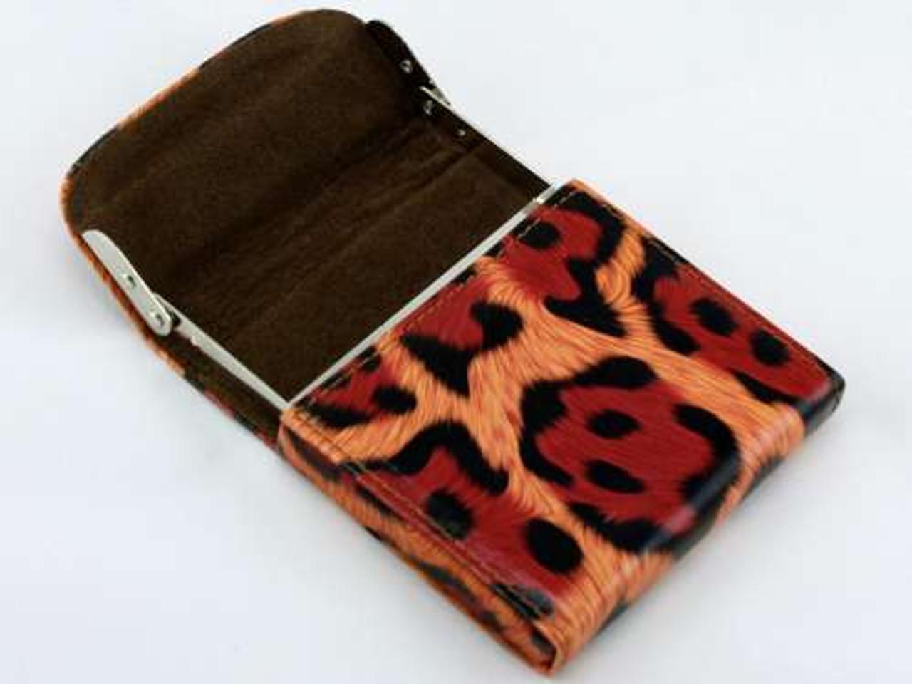 Red Cheetah Flip Top Cigarette Case