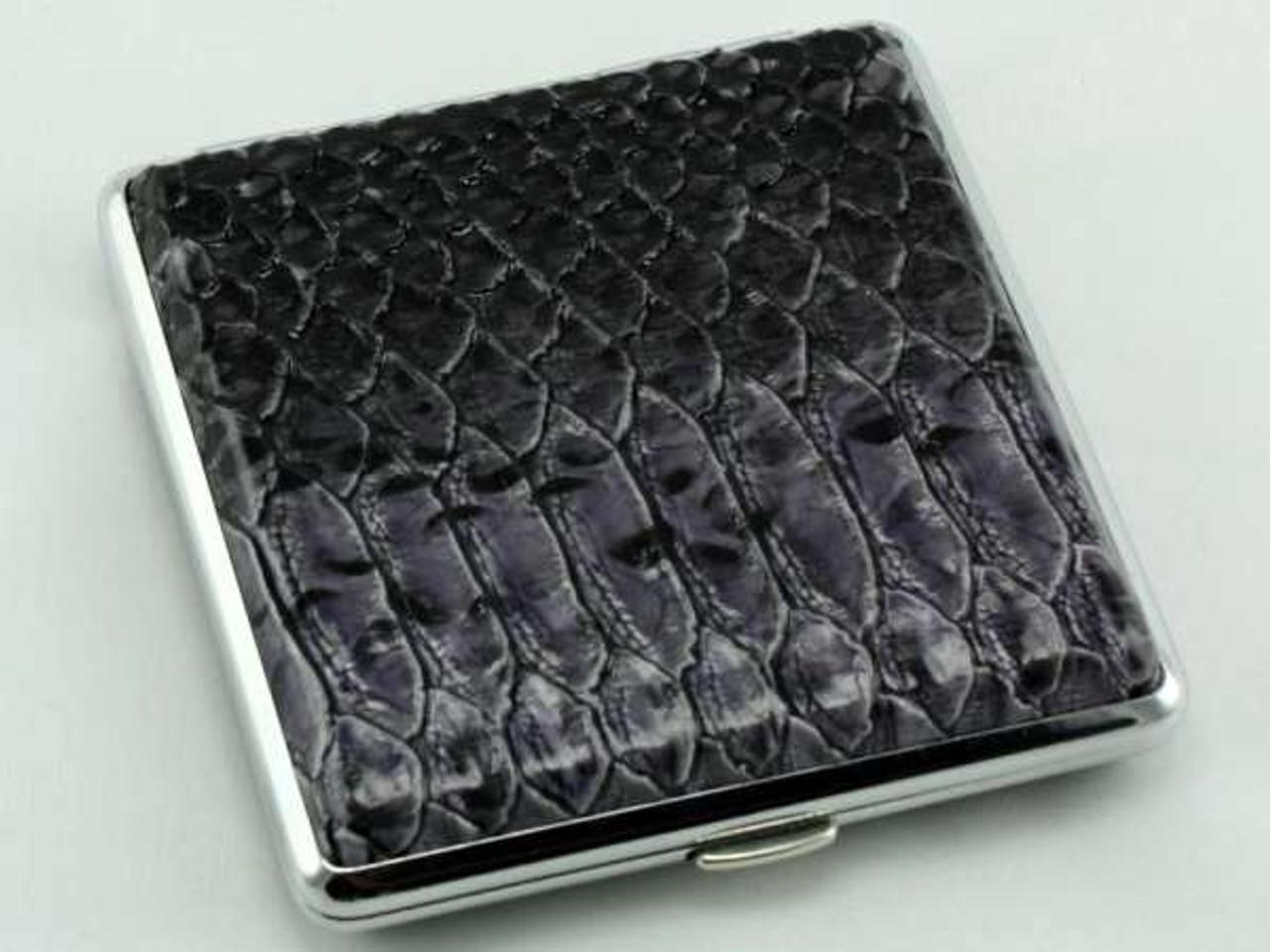 Grey Snakeskin Leather Cigarette Case