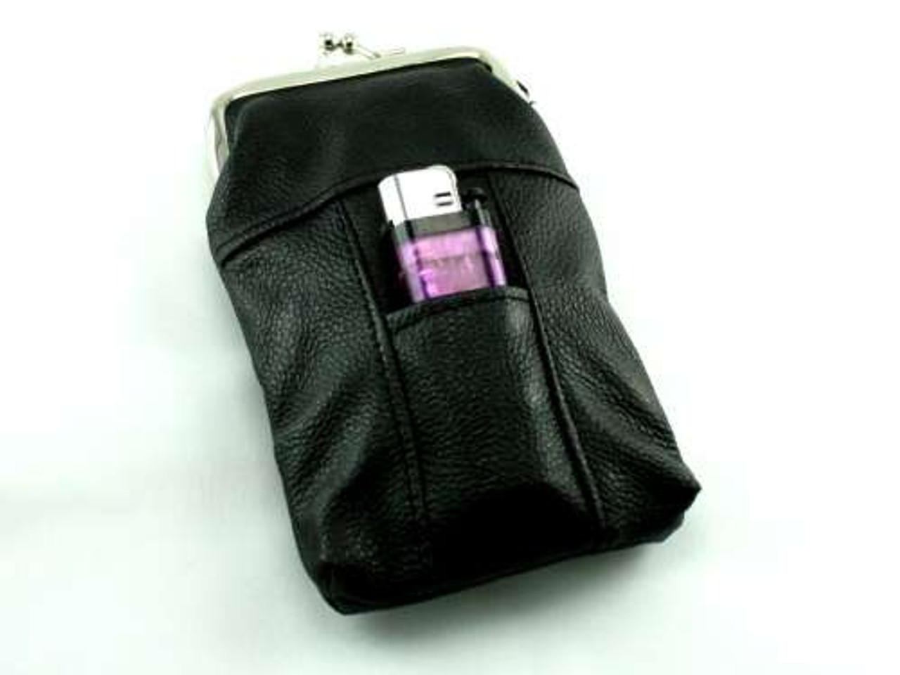 Black Leather Cigarette Pack Holder
