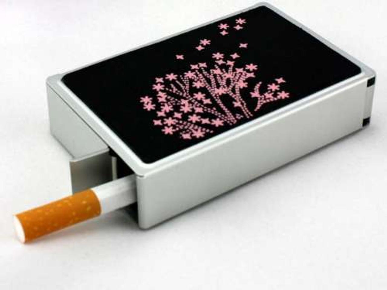 Pink Blossom Auto Dispensing Cigarette Case